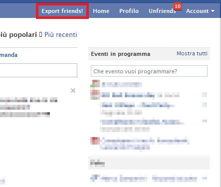 esporta amici facebook Fare un backup dei contatti facebook con le relative mail per non perdere i dati.