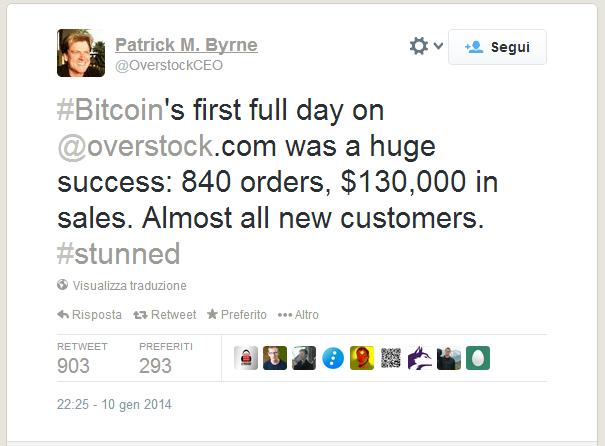Overstock accetta Bitcoin