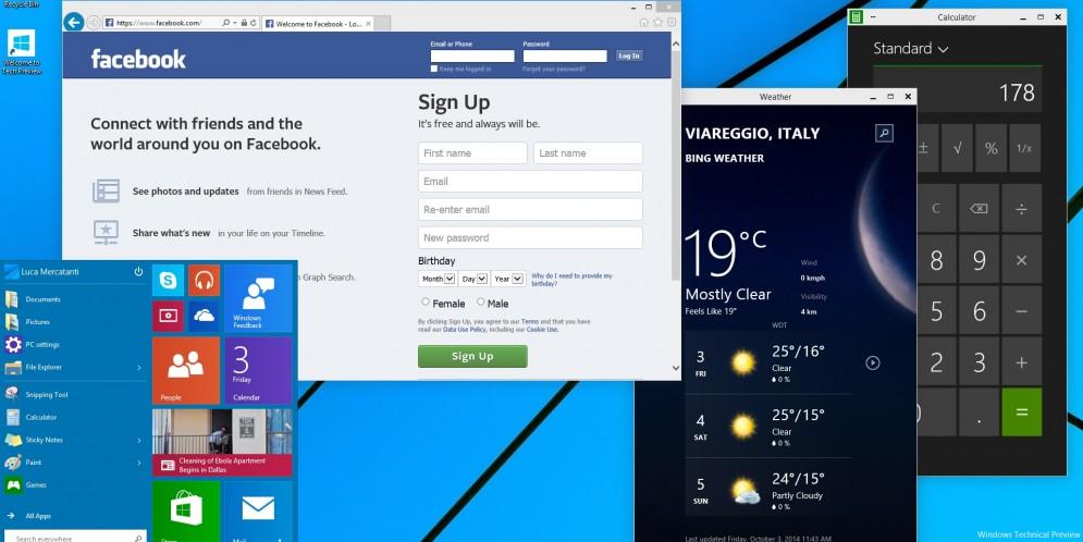 Windows 10: Come provarlo ed una serie di screenshot